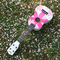 "Wholesale Nylon Strung Guitar - Wholesale- 21"" Ukelele Ukulele 4 Nylon Strings Hawaii guitar with Colorful Pattern Basswood Stringed Instrument Kid's Gift Musical Toy"