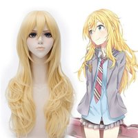 Barato Cabelo Longo Médio Da Onda-Anime Your Lie in April Miyazono Kaori Cosplay Wig Golden 65cm Medium Long Curly Wigs Mulheres Party Costume Hair