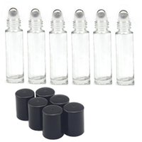 Wholesale Empty Glass Roll Bottles - Cheap 700pcs lot 10 ml Empty Roll on Glass Bottles [STAINLESS STEEL ROLLER] Clear-10ml Refillable Color Roll On for Fragrance Essential Oil