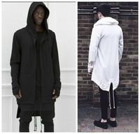 Wholesale Black Hooded Cloak Cape - 2016 Hoodies For Men Urban Hoodie Hip Hop Jacket White Black Men's Coat Extended Cape Hoodie Mens Hooded Cloak Hoodies