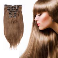 sarışın brezilya saç satışı toptan satış-En iyi Satış Brezilyalı Remy İnsan Saç Uzantıları 10 adet / takım 22 klipler Düz Klip In / On İnsan Saç Uzantıları # 1 Siyah # 613 Sarışın Opsiyonel