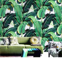 Silk wallpaper painted leaf - Custom Wall Mural Wallpaper European Style Retro Hand Painted Rain Forest Plant Banana Leaf Pastoral Wall Painting Wallpaper D