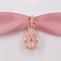 Wholesale 14k Crown Pendant - 925 Sterling Silver Beads Rose Gold Plated Crown Pendant Charm Fits European Pandora Style Jewelry Bracelets 781376 Rose Gold Plated