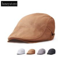 Wholesale Vintage Mens Flat Caps - Wholesale-Mens Women Vintage Beret Cap Cabbie Flat Peaked Hat Gatsby Driver Newsboy H450