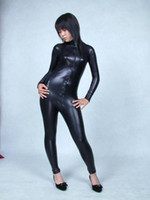 Wholesale Front Zip Catsuit - Black Front zip file open Elastic tights full body Glue Spandex lycra Metal flashing color Adult suit