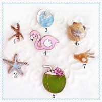 Wholesale Enamel Starfish - Wholesale- 1PC European Jewelry Cartoon Enamel Coconut Tree Starfish Goose Finger Seawater Piercing Brooches For Women Lapel Pins P712