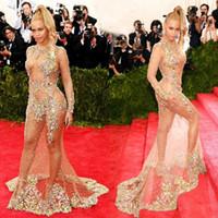 Wholesale Long Sleeve Evening Stylish - Glamorous Beauty Beyonce Celebrtiy Dresses 2017 Stylish Sheer Beaded Nude Naked Mermaid Evening Dresses Sexy Long Sleeve Red Carpet Dresses