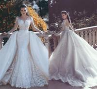 vestido de noiva sparkly tulle sereia venda por atacado-Sem alças de Sereia Rendas Vestidos de Casamento Com Trem Destacável luxo mangas brilhantes Frisado Tule Overskirt Dubai vestidos de Noiva árabes