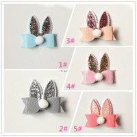 Wholesale Wholesale Hair Barrettes Balls - 20pcs Cartoon Rabbit Ear Hair Bow Prince Baby Girl Hair Clips Bows Hairpin with Soft Ball Kids Cute Animals Hair Barrettes Pink