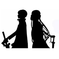 Wholesale Guys Cars - Wholesale 10pcs lot Legendary Novel Beautiful Guy Wearing A Sword Kirito Asuna Sao Car Sticker for Wall SUV Motorcycle Car Decor Vinyl Decal