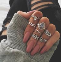 Wholesale Vintage Carving Sets - 7pcs set New Arrival Flower Gemstone Carved Ring Set Antique Silver Plated Vintage Bohemian Turkish Fashion Women Accessories