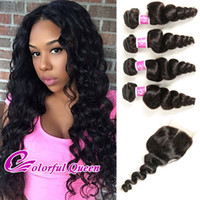 Wholesale Colorful Curly Natural Hair - Colorful Queen Brazilian Virgin Hair 4 Bundles With Closure Loose Curly Brazilian Loose Wave With Closure 5Pcs Human Hair Weaves Closures