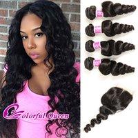 Wholesale Colorful Brazilian Hair - Colorful Queen Brazilian Virgin Hair 4 Bundles With Closure Loose Curly Brazilian Loose Wave With Closure 5Pcs Human Hair Weaves Closures