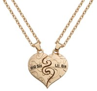 """Wholesale New Big Sister - New 2pcs   set Gold Heart Pattern """"Big Sis Lil Sis"""" Sister Pendant Necklace Friendship Memorial Gift Forever Sister AA122"""