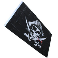 ingrosso pirati bandiere-3x5FT Marca Enorme Teschio Croce Ossa Incrociate Sciabole Jolly Roger Pirata Bandiere con Occhielli Decorazione Festa di Halloween Decorazioni