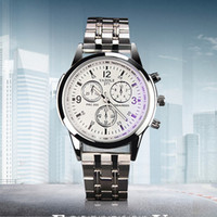 Wholesale ray hand - YAZOLE Men's Watch Full Steel White Black Blue Ray Dial 30m Waterproof Luminous Hands Business Dress Sport Wristwatches Watches for Men Male