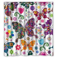 Europe spring shower curtains - Fashionable Bathroom Collection Custom Waterproof Seamless Spring Pattern Colorful Butterflies Shower Curtain quot x quot
