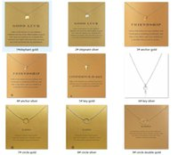 Wholesale Golden Elephant Pendant - 60 Styles Dogeared Necklace with Card Golden Silver Color Good Luck Elephant Pendant Noble and Delicate Choker Valentine Christmas Gift