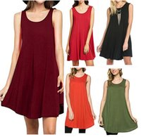 Wholesale Slim Tank Mini - New Hot Selling Summer Plus Size Dresses for Women 2017 Fashion Solid Slim Pure Dress With Sleeveless Round Neck Casual Tank Top ZL3014