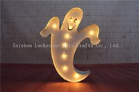 Atacado - Comemore Halloween Metal LED Ghost shape Marquee Sign LIGHT UP sinais café luz noturna BAR Indoor Deration free shipping