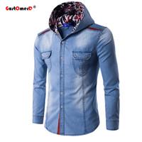 Wholesale Denim Shirt Hoodie - Wholesale- GustOmerD New Fashion Hooded Denim Shirt Men Casual Men Shirt Long Sleeve Cotton Slim Fit Hoodies Mens Jeans Shirts