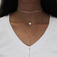 Wholesale Three Pearl Pendant - Beautiful Pendant Necklace with Pearl Beads for Girlfriend Three Layer Tiny Fashion Necklace with High Quality