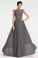 Wholesale Grey Chiffon Sleeve Dress - Beach Long Modest Bridesmaid Dresses With Cap Sleeves Grey Lace Chiffon Country Summer Wedding Party Gowns Maids of Honor Dress 2017
