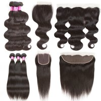 Wholesale Mongolian Remy Lace Frontal - Brazilian Body Wave Virgin Hair Straight Remy Human Hair Extensions 3 Bundles with 4x4 Lace Closure and 13x4 Lace Frontal Weaves Closure