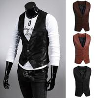 Wholesale Synthetic Breasts - Wholesale- Men's Fashion Simple Design Slim Fit Faux Leather Vest Waistcoat Jacket Coat