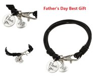 Wholesale I Love Football - Father's Day Best Gift Dad Crochet Men's Bracelet I love you My dad,Crochet Men's Bracelet personalized gift for father M697