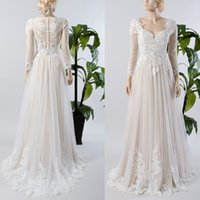 Wholesale Inside Dress - A line Long Sleeve Lace Tulle Wedding Dress Illusion Sheer Button Back Champagne lining Inside Beach Bridal Gown