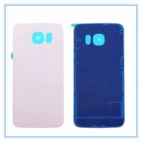 Wholesale Door Edges - New Back Door Housing Rear Glass Battery Cover With Adhesive For Samsung Galaxy S6 Edge G9250 G925F Back Cover White Black Blue