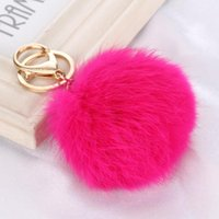 Wholesale Real Fur Accessories - Real Rabbit Fur Ball Keychain 8cm Soft fluffy Gold Metal Key Chains Ball Pom Poms Plush pompon Keychain Car Keyring Bag Earrings Accessories