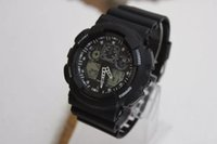 Wholesale g shock watch wholesale - 5PCS NEW dual display sports watch ga100 G Black Display LED Fashion army military shocking watches men Casual Watches #ACLY7888