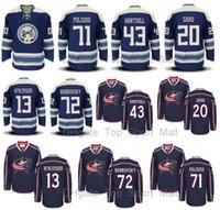 Wholesale Jacket Dark Red Man - Columbus Blue Jackets Jersey Ice Hockey 43 Scott Hartnell 13 Cam Atkinson 20 Brandon Saad 71 Nick Foligno 72 Sergei Bobrovsky Dark Blue Men