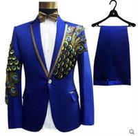 ingrosso cintura nera beige-(giacca + pantaloni + papillon + cintura) abiti di moda set sposo matrimonio prom party rosso nero blu costumi slim fiore fiore abito formale spettacolo bar