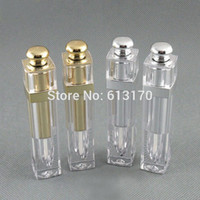 Wholesale Silver Wall Stick - Free shipping 5ml lip gloss tubes Empty DIY lip balm bottle with Gold Silver cap Double wall,Square Lip stick packing container