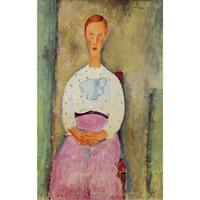pintura al óleo retrato de las niñas al por mayor-Arte abstracto de mujer Chica con un lunares de lunares-Amedeo Modigliani retratos al óleo Lienzo pintado a mano