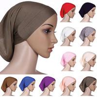 müslüman kafa eşarpları toptan satış-Toptan-2015 Muhteşem! İslami Müslüman kadın Başörtüsü Pamuk Underscarf Tesettür Kapak Bonnet 9FAO