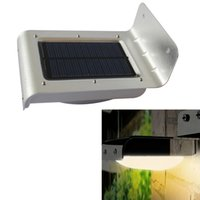 Wholesale Solar Power 16 Led - PIR Solar Powered LED Wall Lamp 16 LED LEDs Lights Wall Light Ray Motion Sensor Light Motion Detection Path Garden Yard light