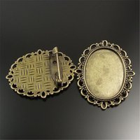 Wholesale Cameo Brooch Settings - Wholesale- 20pcs pack Vintage Women Antiqued Bronze Tone Alloy Flower Oval Cameo Cabochon Setting Base Tray Pin Brooches 36*30*7mm 32087