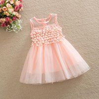 Wholesale European Lace Top - Girls summer new Cotton Lace Princess Dress baby party dresses European Style Top Quality Girl sleeveless Chiffon weeding dresses