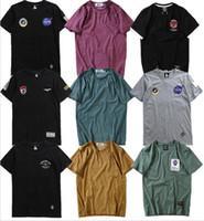 Wholesale America Flag T Shirt - America Classic Fashion NASA Rockets Embroidery T-shirt Men Women Hip Hop Cotton O-neck Flag Badge Military Short Sleeve T-shirt