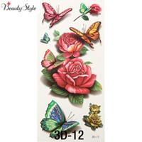ingrosso gambe tatuate rosa-All'ingrosso-10pcs 3D Body Art adesivi manica petto glitter tatuaggi temporanei rimozione falso piccola rosa farfalla design per la pittura del corpo gamba