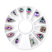 Wholesale Crown Charms 3d - New Nail Art Decoration 12pcs Box Symphony AB Glitter Crown Droptear Alloy 3d Charm Nail Rhinestone Jewelry Manicure Tools 2017
