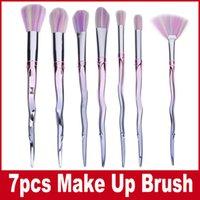 Wholesale Diamond Lashes - Makeup Brushes Diamond Lashes Rainbow Face Brush Liquid Foundation Brush Concealer Blush Cream Brush 7pcs Set Unicorn Thread Cosmetic Tools