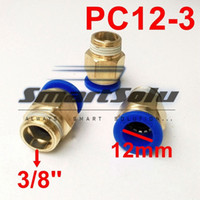 Wholesale push fit fittings online - 10PCS PC12 Pneumatic fitting mm quot mm Tube Thread Pneumatic Fitting Quick Joint Connector quick push in pipe fittings