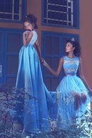 Wholesale Floral Dress Material - 2017 Baby Blue Formal Long Evening Dresses 2017 Said Mhamad 3D Floral A Line Satin Sheer Prom Dresses Illusion Material Custom Made