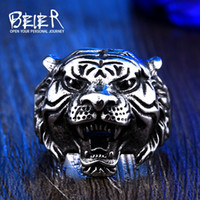 Wholesale Tiger Ring Band - Beier new store 316L Stainless Steel ring top quality animal biker ring tiger Fashion Jewelry BR8-307