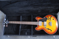Wholesale Electric Hollowbody Guitars - wholesale Semi hollowbody bass guitar Flamed maple body Double F holes Jazz electric bass guitar